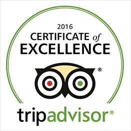 TripAdvisor Certificate of Excellence winner 2016